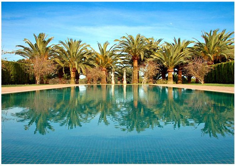 The swimming pool at Villa Xarbet on Mallorca